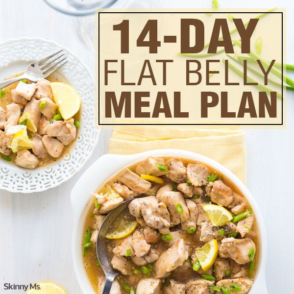 14-days of delicious meals that help towards the goal of a flat belly! #recipes #mealplan