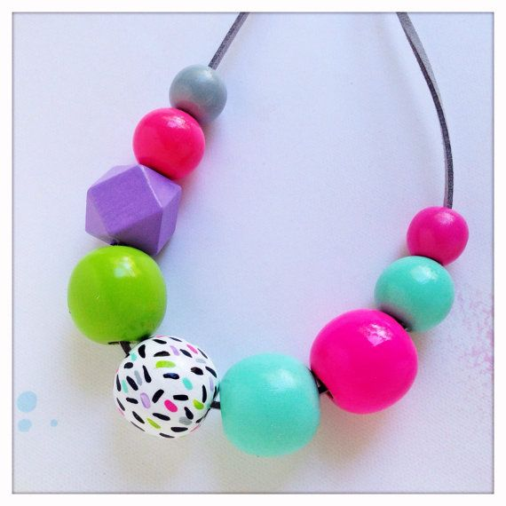Hand Painted Geometric Wood Bead Necklace in Confetti