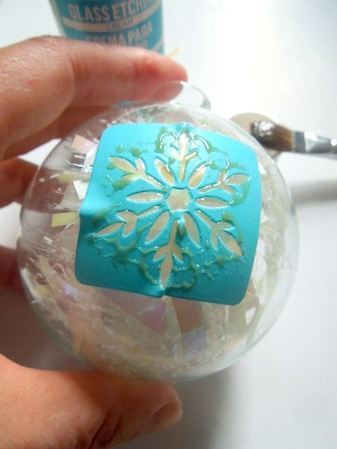 Use etching cream which is as easy as paint to etch glass ornaments