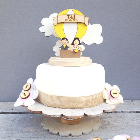 Hot air balloon wedding topper  shabby chic style