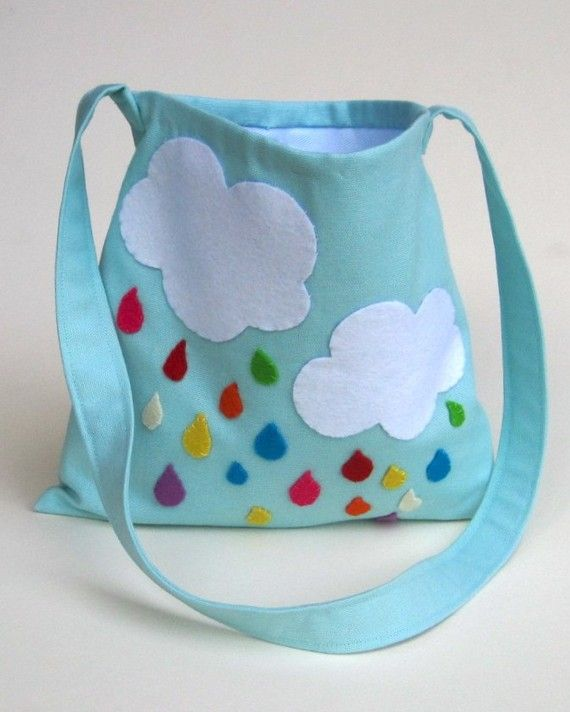 Xyron Fabric Adhesive would be so easy for this kids messenger bag rainbow rain drops / hand sewn eco friendly accessory for children