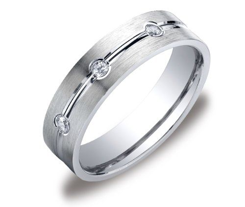 Men's 14k White Gold Ideal Cut Comfort Fit 6mm Satin Finish Diamond Band (0.12, cttw, SI-1, G Color)