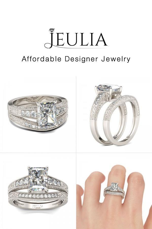 Jeulia Milgrain 2.5CT Radiant Cut Created White Sapphire Wedding Set - Jeulia Jewelry