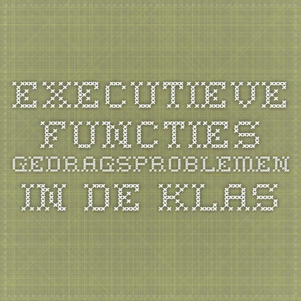 Executieve functies - Gedragsproblemen in de klas