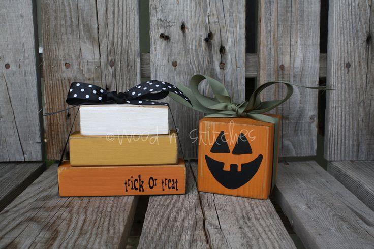 Primitive Pumpkin and Candy Corn Halloween wood by jodyaleavitt