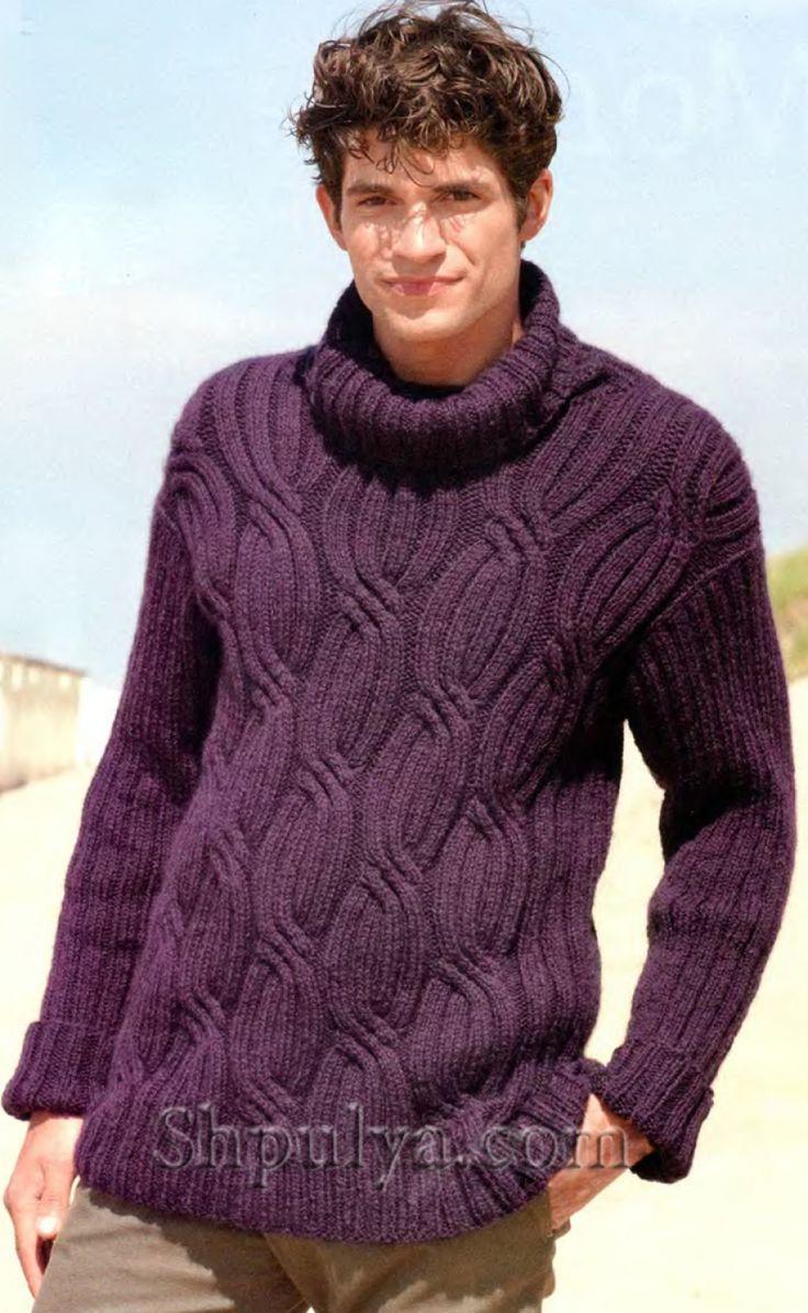 Мужской свитер с косами, вязаный спицами