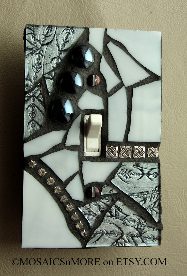 Arts and crafts switch plate covers - Silver And Shiny Mosaic Light Switch Cover Wall Plate