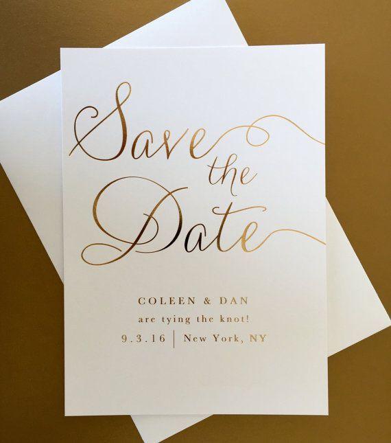 Gold Foil Wedding Save the Date Modern Elegant by JPstationery