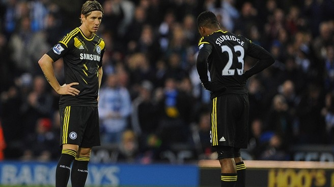 Fernando Torres (Chelsea FC)  Fernando Torres and Daniel Sturridge (R) of Chelsea FC react during their English Premier League match against West Bromwich Albion FC