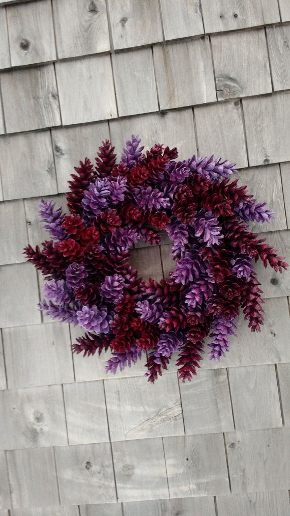 HGTV Magazine Wreath-Maine Made Pinecone Wreath – Lavender and Berry