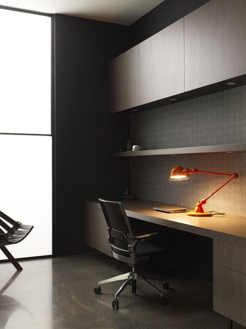 Home office desk minimalist design, recessed downlights and hidden storage
