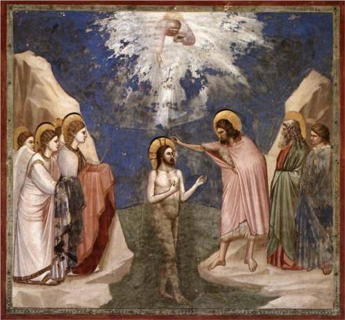 The Baptism of Christ - Giotto  c.1305  Scrovegni (Arena) Chapel, Padua, Italy