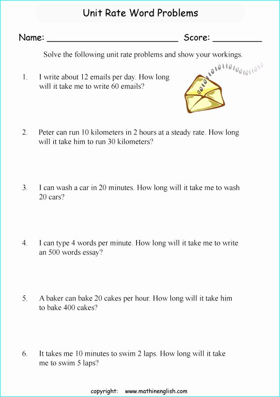 Unit Rate Worksheet 7th Grade Lovely Printable Primary ...