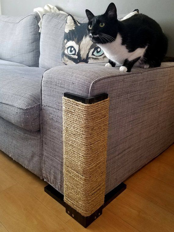 Couch Corner Cat Scratching Post 24 inches tall, Black Stained Pine, Sisal Rope