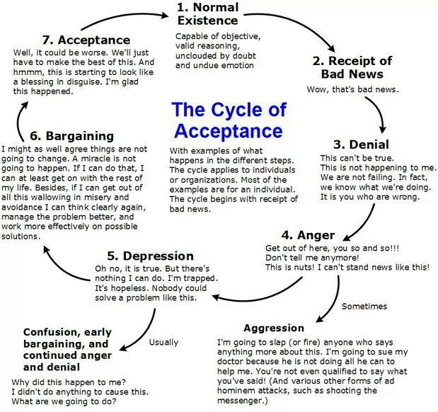 """Cycle of Acceptance - also known as """"Grief"""" or """"Change"""" cycle. Important to recognise when making any psychological or life changes"""