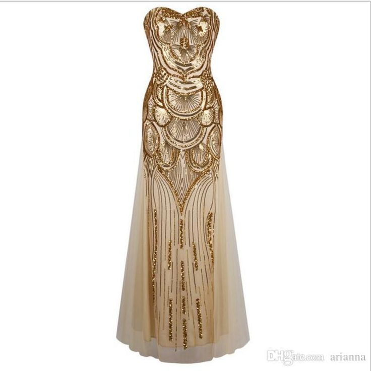 New Long Strapless Evening Dress Gold Off Shoulder Dress Art Deco Gatsby Vintage Vestido Sequined Shining Sexy Party Gown With Recoil Belts Evening Jackets For Dresses Evening Long Dresses Uk From Arianna, $33.17| Dhgate.Com