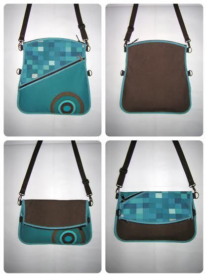 Cross Body iPad Bag multifunction 4in1 slim haversack Travel Tote hipster bag mixed fabrics Turquoise Brown Beige with circles