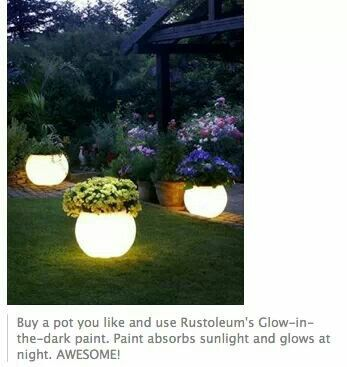 Pots that glow in dark by using glow in dark paint! So much cheaper than buying the solar pots. Happy Glowing!