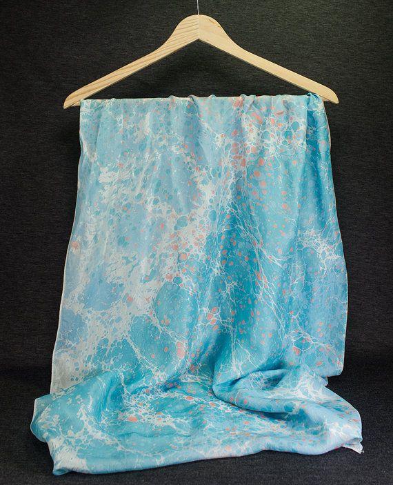 Hand Marbled   Silk Marble Scarf  springl  summer  by detcraft