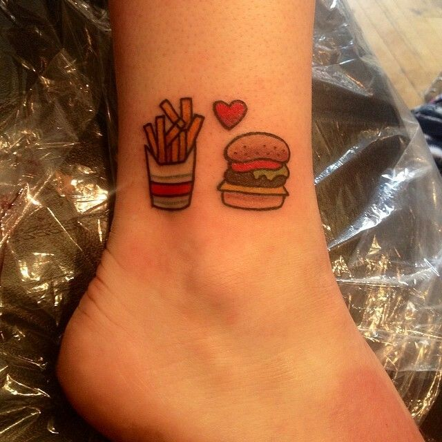 Tiny burger and fries tattoo