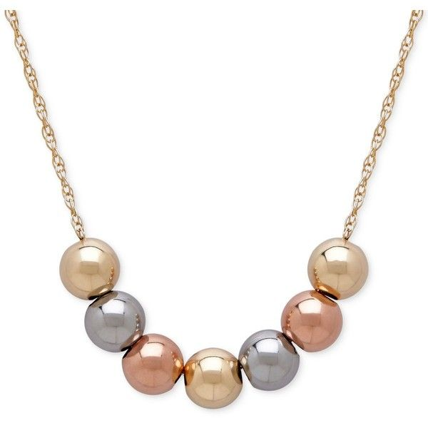 Tri-Tone Beaded Statement Necklace in 10k Yellow, White and Rose Gold (235 RON) ❤ liked on Polyvore featuring jewelry, necklaces, chain necklace, 14k rose gold necklace, statement necklaces, beaded necklaces and yellow bead necklace