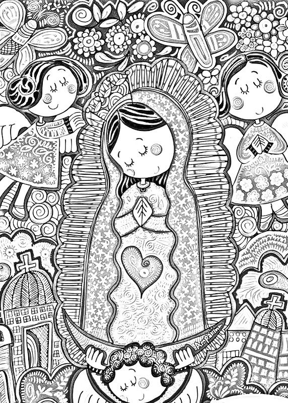 9 different coloring pages for Our Lady of Guadalupe