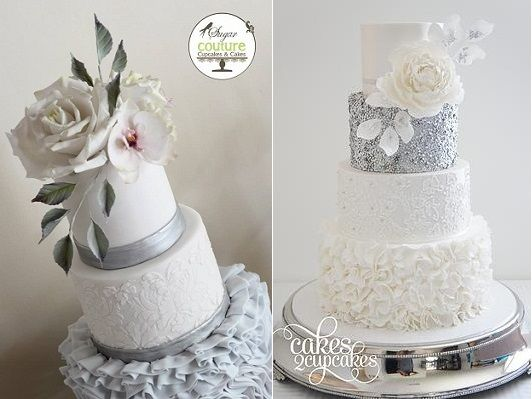 Silver and grey with the palest of pink wedding cake by Sugar Couture Cupcakes & Cakes left, with silver sequins and cream florals right by Cakes 2 Cupcakes right.