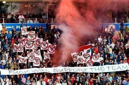 PSV fans supporting the team and protesting against Wifi in their home stadium! Haha!