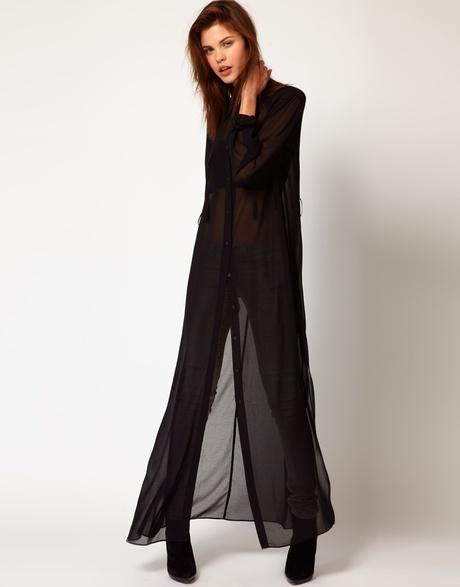 Diesel black sheer maxi shirt-dress