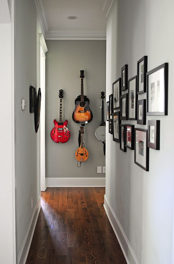 Instrument Wall - add photos of music theme on the alternate wall (of family or friends or favorite artists). Want to do this with Adam's guitars when we get a house!