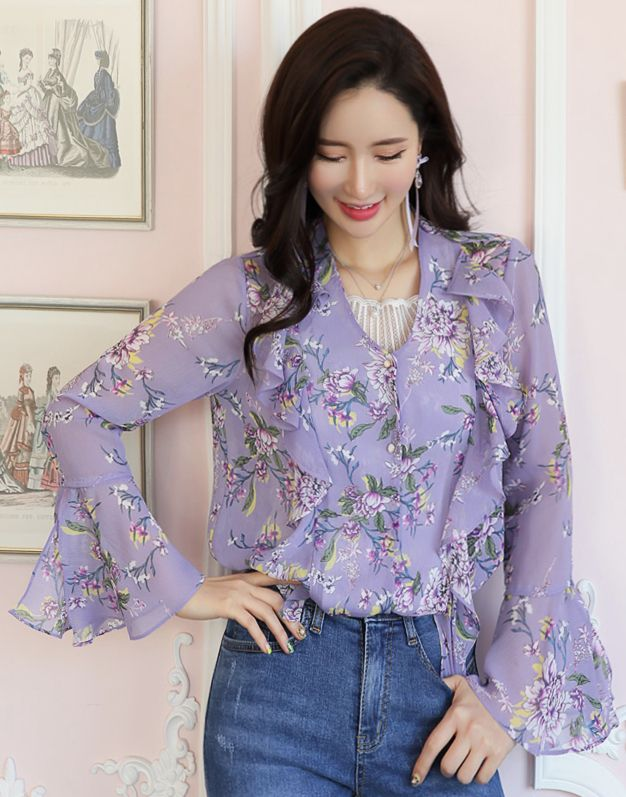 1b8ee5e3e43b88 StyleOnme Romantic Floral Print Frill Chiffon Blouse  purple  floral  blouse   ruffle  bellsleeve  feminine  koreanfashion  kstyle  kfashion  springtrend  ...