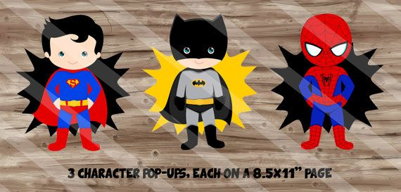 Superhero Birthday Party Supplies Character by SewKawaiiKids