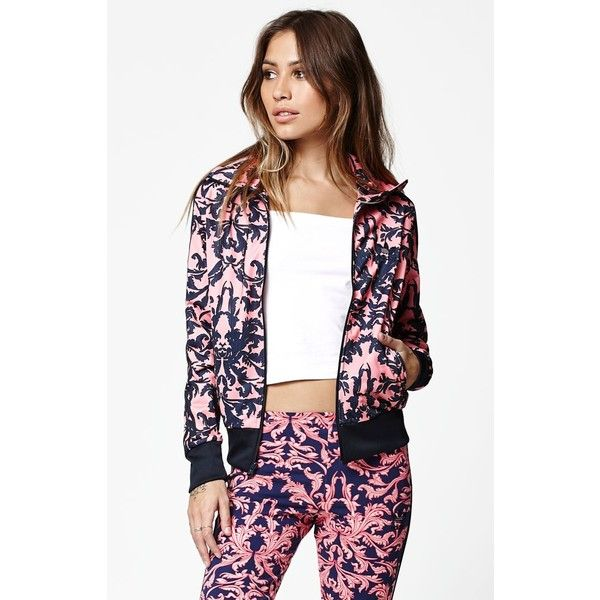 Adidas Baroque Ornament Firebird Track Jacket (110 AUD) ❤ liked on Polyvore featuring activewear, activewear jackets, adidas, tracksuit jacket, track jacket, adidas sportswear and adidas activewear