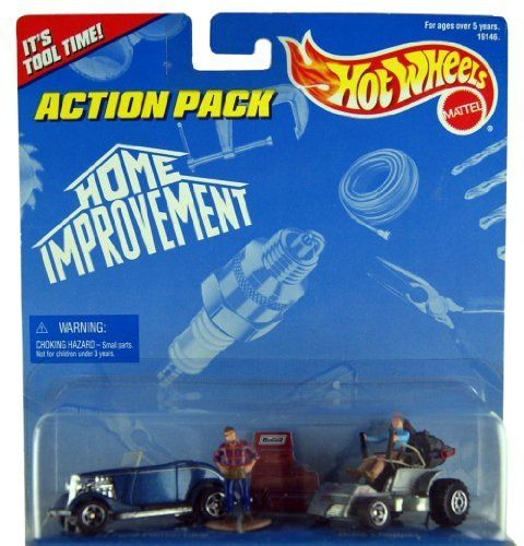 "Hot Wheels Home Improvement Action Pack 1:64 Scale Die Cast by Mattel by 1997 Mattel. $10.95. Features vehicles and accessories from the ""home Improvement"" TV show. Wtth the ""Dixie Chopper"" mower from the show. Also includes 1933 Ford Roadster Convertible. 1997 Issue. Can be used with other Hot Wheels Action Packs. Gear up and tackle household appliance problems with Tim Taylor, host of the local home improvement show""Tool Time"". With some help from his sidekick, Al, yo..."