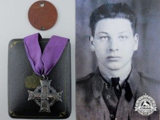 A Memorial Cross to Native Canadian Private Liberty; Toronto Scottish Regiment (M.G.), R.C.I.C.