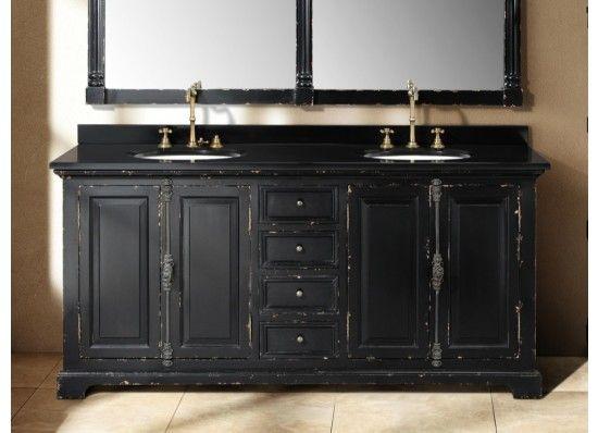 vintage bathroom sink and mirror | 71 Inch Antique Black Double Sink Vanity  - Double Vanities - 70 Best Black Bathroom Vanities Images On Pinterest Black Bathroom