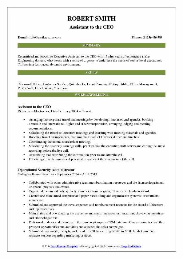 Assistant To The Ceo Resume Sample Business Analyst Resume Resume Examples Manager Resume