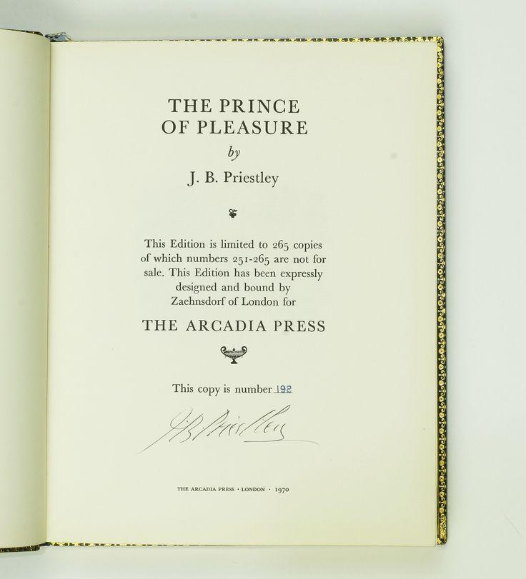 The Prince of Pleasure | J.B. Priestley | Signed Copy