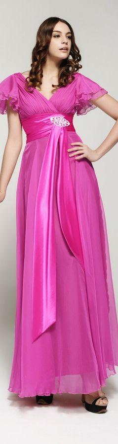 Bescheiden Abendkleid mit Aermeln Hot Pink Brautmutterkleid lang