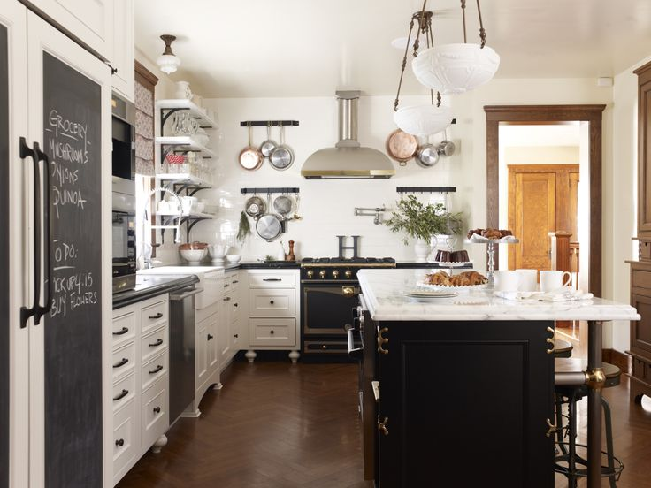 Eclectic Island Style White Kitchen Cabinets Nicole Hough Designs Pans On The Wall