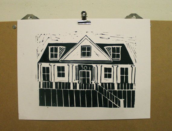CUSTOM  Lino Print by KateMorrisArt on Etsy.Lovely idea to have a lino print of your own house. A great keepsake or a very special gift.