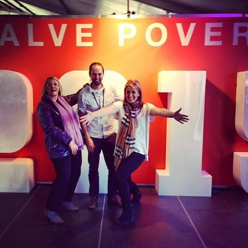 """After running an advocacy workshop together at Hillsong Conference 2013, Louise Markus MP, Hillsong Executive Pastor Donna Crouch and Micah Challenge's National Coordinator John Beckett pose for a """"halve poverty by 2015"""" photo."""
