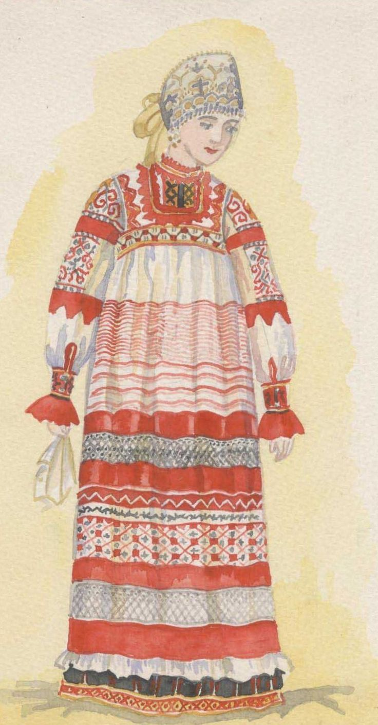 Russian traditional costume from Kursk Province.