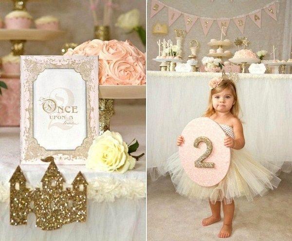 Festa princesa dourada e rosa