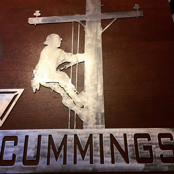 Custom Lineman With Last Name Cnc Plasma Cut Metal Art By