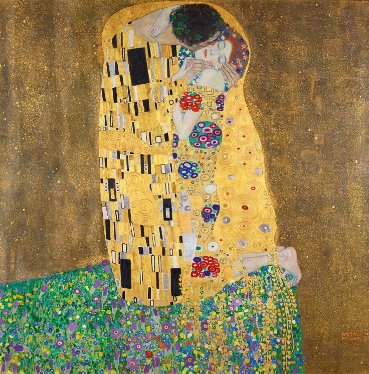 Gustav Klimt, Kiss, 1908/1909 Oil on canvas; 180x180cm Location: Belvedere Museum Wien