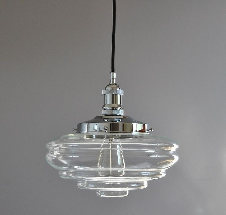BUSTER-INDUSTRIAL PENDANT LIGHT-CHROME-CHATEAU CLEAR GLASS DECO SHADE-CORD-HALL