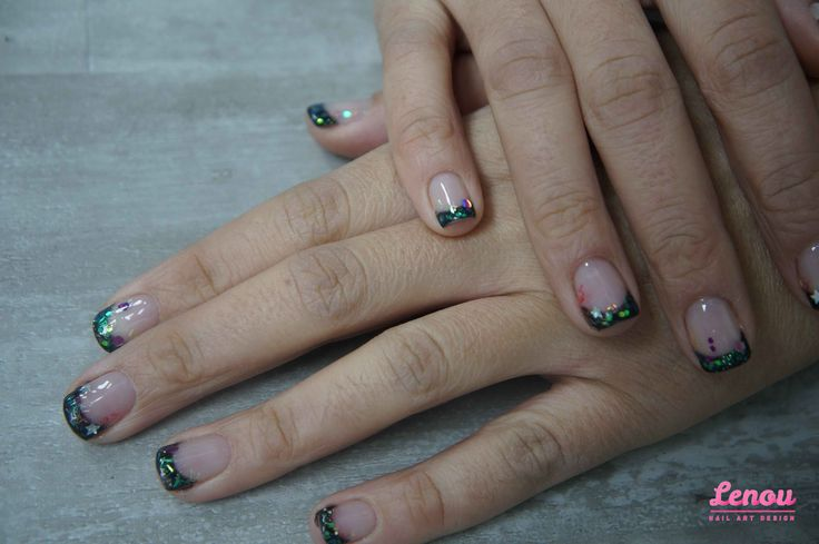 black,french manicure
