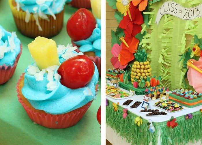 My pineapple cake pop display and blue Hawaii cupcakes on Amy Atlas!