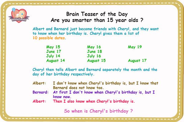 When Is Cheryl Birthday Brain Teaser Of The Day Gift Our